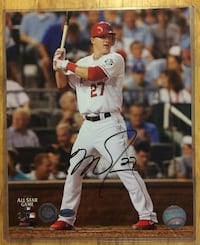 Mike Trout Autographed Angels Authentic Baseball Photo Toronto