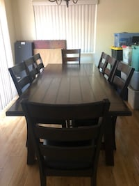 Rectangular brown wooden table with six chairs dining set - regular price $2,500 Costo  Los Angeles, 91335