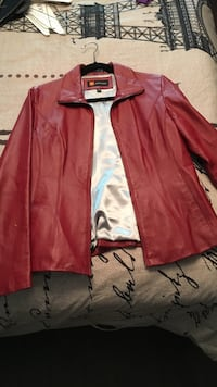 red leather zip-up jacket