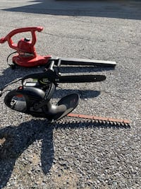 Electric chainsaw and blower and hedger