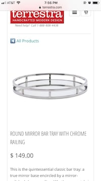 Round chrome mirrored tray Waterford, 48328