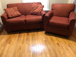 Microfiber loveseat and chair