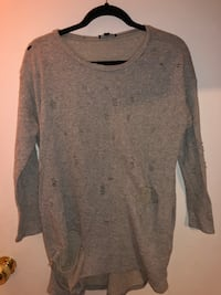 Fashion nova distressed thin sweater grey medium  Bloomfield