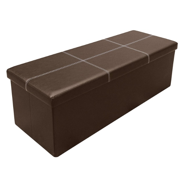 Astounding 45 Inch Line Design Memory Foam Folding Storage Ottoman Bench With Faux Leather Dailytribune Chair Design For Home Dailytribuneorg