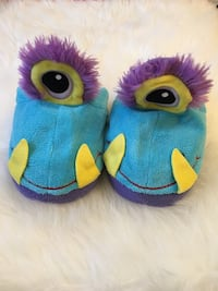 blue-and-purple monster home slippers
