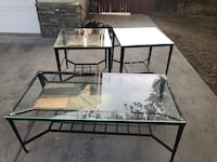 rectangular clear glass top table with black metal base Bakersfield, 93314