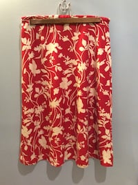 red and beige floral skirt
