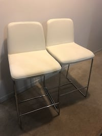 Two new white leather padded chairs Toronto, M6H 3Y2