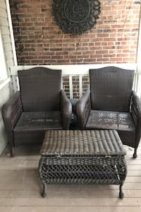 Patio set with beige cushions