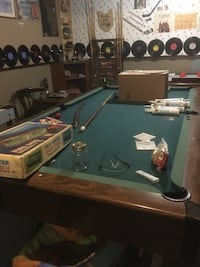 4by8 pool table with accessories for one dollar one corner is missing plastic does not affect use You do all the carrying null
