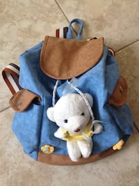 Women's blue and brown suede bucket bag