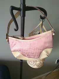 pink and white leather hobo bag Edmonton, T6J 5L4