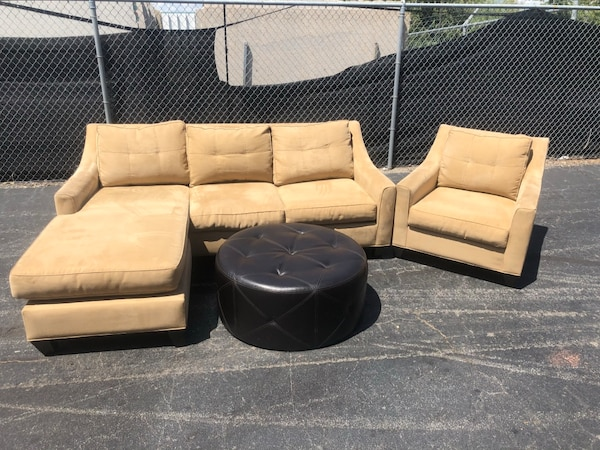 Strange Cindy Crawford Sectional Chair And Leather Ottoman New Machost Co Dining Chair Design Ideas Machostcouk