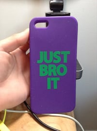 purple and green Just Bro It iPhone case L'Assomption, J5W