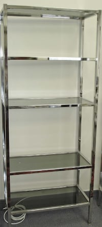 ETAGERE EN METAL CHROME 5 TABLETTES CHROME 5 Sections GLASS SHELF Montréal