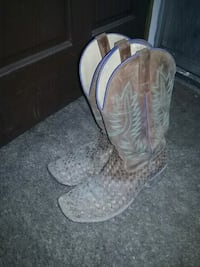 pair of gray leather cowboy boots Springfield