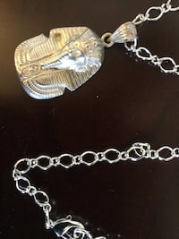 """Egyptian Pharaoh pendant necklace 24"""" inch long fine  silver plated rolo chain / New Alexandria, 22311"""