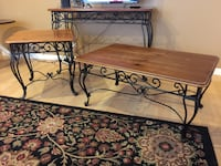 Set of 3 Living Room Tables.  Wood and cast iron Sammamish, 98075