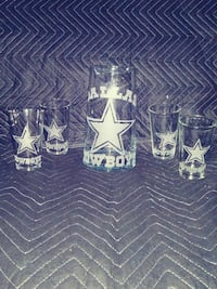 clear Dallas Cowboys pitcher and four drinking glasses set Visalia, 93277