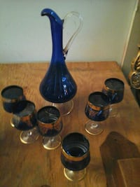 blue and footed glassware set Edmonton