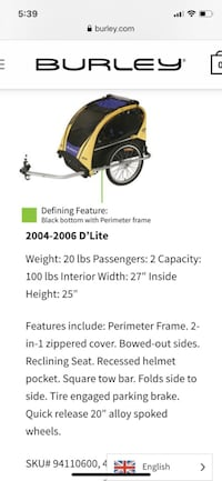 Burley D'lite Double Rider Bicycle Trailer