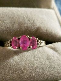 pink gemstone embellished silver ring Glen Burnie, 21061