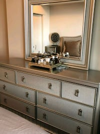 gray wooden dresser with mirror Calgary, T2V 2X4