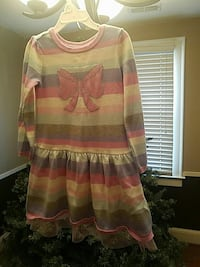 girl's gray, white, and purple striped long-sleeve