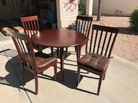 Round brown wooden table with four chairs dining set Mesa, 85213