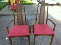 two red wooden chairs with red pads Skokie, 60076