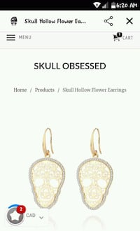 Skull 18kgp diamond earrings  Winnipeg, R3A 1K7