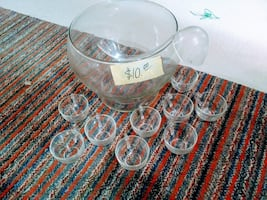 Clear glass punch bowl set