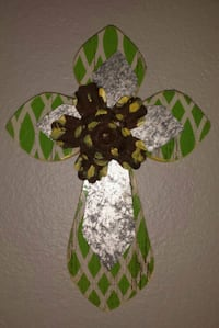Large Handcrafted Wood Cross with Metallic Accents