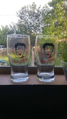 two Betty Boop drinking glasses