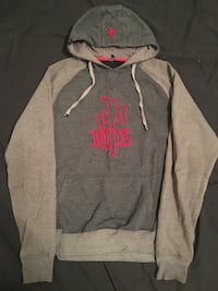 gray and pink Under Armour pullover hoodie