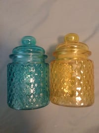 2 glass canisters