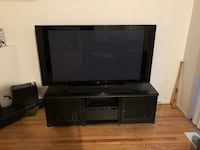 Black wooden tv stand with flat screen television Chicago, 60613