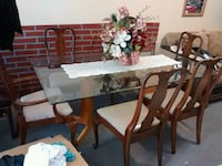rectangular brown wooden table with six chairs dining set Selma, 27576