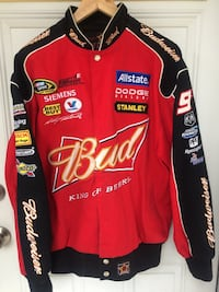 JH DESIGN Motorsports Budweiser Bomber Snap Button Jacket Men's S-M Calgary, T2E 8Y7