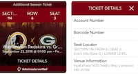 Redskins/Packers game and parking pass Damascus, 20872