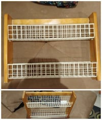 brown wooden frame white wire 2-tier wall rack