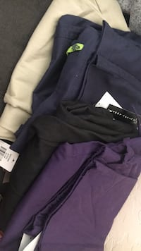 Grey female dress pants in size 10p, Tan pants in 10, two scrub pants only in Blue and Purple and purple pants. Buy all 4 for $50 Mesa