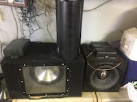 black and gray speaker and power amplifier
