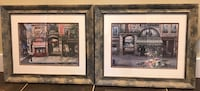 Two framed paintings of quaint French town scenes.  Beautiful art, beautiful frames , V0R