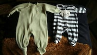 baby's two green, white, and black striped footie pajamas Bogart, 30622
