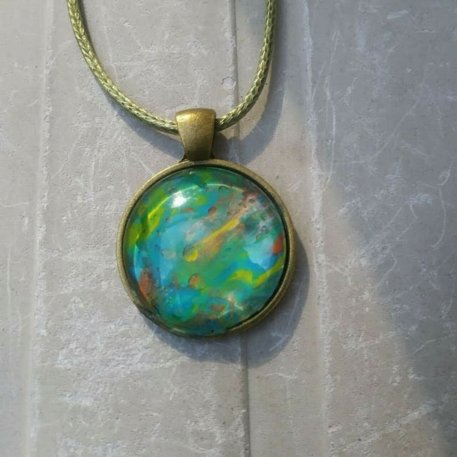 One of a kind handmade acrylic pour necklace