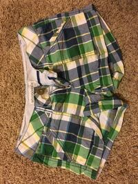 green, white, and black plaid shorts Crown City, 45623