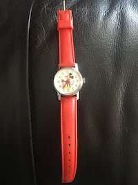 Collectable Mickey Mouse watch with red leather strap London, N6C