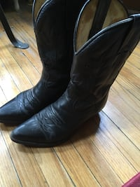 pair of black leather cowboy boots Toronto, M6R 1A1