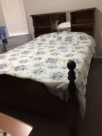 Solid wood queen size bed with mattress and box spring. dresser is free with this bed set. i am looking for king size bed so need to sell